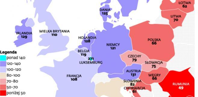 PKB na mieszkańca kraju w 2012 r.