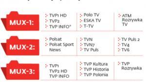 Programy dostępne na multipleksach naziemnej telewizji cyfrowej