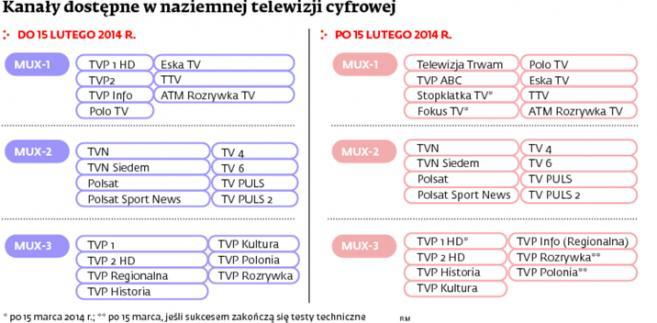 Kanały dostępne w naziemnej telewizji cyfrowej