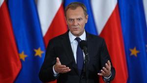 Premier Donald Tusk po spotkaniu z przedstawicielami górniczych związków zawodowych. Fot. PAP/Rafał Guz