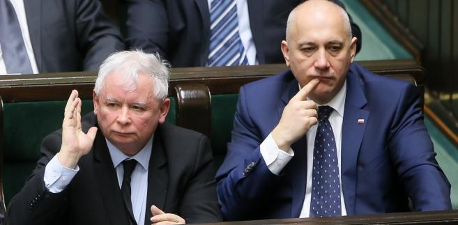 Prezes PiS Jarosław Kaczyński  i wicemarszałek Sejmu, poseł PiS Joachim Brudziński