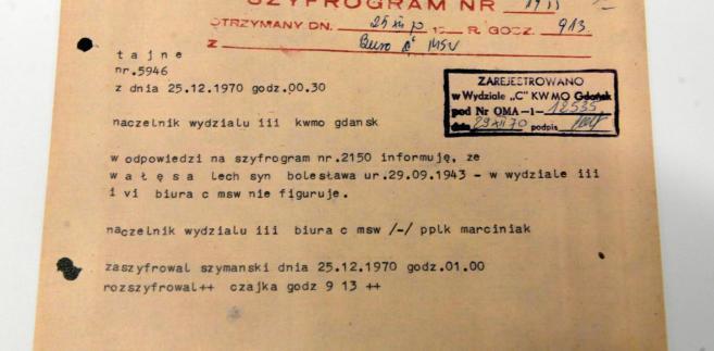 Dokument ze zbiorów Kiszczaka udostępniony przez IPN