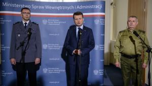 Konferencja prasowa nt. bezpieczeństwa w Polsce.