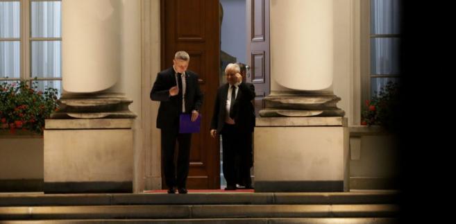 Prezes PiS Jarosław Kaczyński opuszcza Belweder