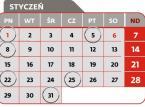 <strong>1 stycznia </strong><br>Termin złożenia deklaracji VAT-11 - osoby fizyczne, osoby prawne lub jednostki organizacyjne niemające osobowości prawnej, niebędące podatnikami VAT i niemające obowiązku składania deklaracji VAT-7, VAT-7K lub VAT-7D, dokonujące WDT nowego środka transportu<br><br><strong>5 stycznia </strong><br>złożenie deklaracji VAT-14 o należnych kwotach podatku VAT w przypadku wewnątrzwspólnotowego nabycia paliw silnikowych za grudzień 2017 r.<br><br><strong>8 stycznia</strong><br>Termin złożenia deklaracji CIT-7<br>Termin przekazania przez płatnika, o którym mowa w art. 26 ust 1 CIT, pobranego zryczałtowanego podatku<br>Termin przekazania przez płatnika podatku od należności wypłaconych osobom niemającym w RP miejsca zamieszkania/siedziby z tytułu art. 21 ust 1 i art. 22 ust 1 CIT<br>Termin płatności podatku w formie karty podatkowej<br>Termin wpłaty pobranego przez płatnika podatku PCC, SD<br>Termin złożenia przez płatnika deklaracji: PCC-2, SD-2<br><br><strong>22 stycznia</strong><br>Termin złożenia deklaracji VIN-D, VIU-D<br>Termin płatności zaliczki CIT<br>Termin płatności zaliczki CIT w formie uproszczonej<br>Termin płatności zaliczki CIT kwartalnej<br>Termin płatności zaliczki PIT wg skali podatkowej, chyba, że przed upływem tego terminu podatnik złoży zeznanie i dokona zapłaty podatku wynikającego z zeznania<br>Termin płatności zaliczki PIT podatek liniowy, chyba, że przed upływem tego terminu podatnik złoży zeznanie i dokona zapłaty podatku wynikającego z zeznania<br>Termin płatności zaliczki PIT w formie uproszczonej, chyba, że przed upływem tego terminu podatnik złoży zeznanie i dokona zapłaty podatku wynikającego z zeznania<br>Termin wpłaty pobranych przez płatnika zaliczek PIT i zryczałtowanego podatku PIT od kwot wypłaconych<br>Termin płatności zaliczki PIT kwartalnej, chyba, że przed upływem tego terminu podatnik złoży zeznanie i dokona zapłaty podatku<br>Termin złożenia pisemnego oświadczenia o wyborze formy opodatkowania dochodów