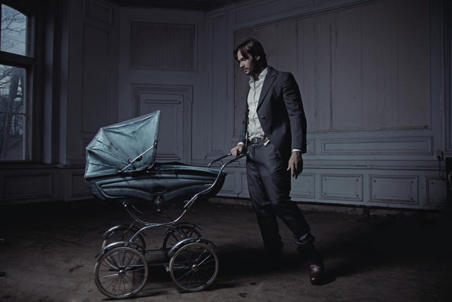 ojciec, dziecko, wózek
