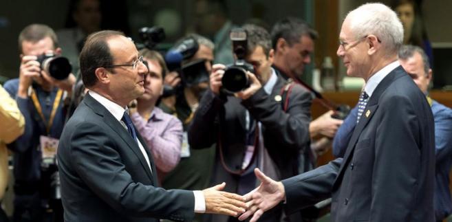 Prezydent Francji Francois Hollande i szef Eurogrupy Herman Van Rompuy.