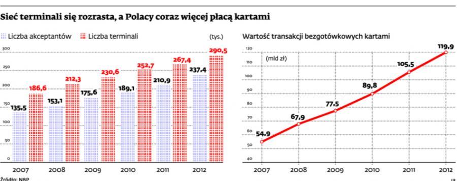 Sieci terminali się rozrastają, a Polacy coraz więcej płacą kartami