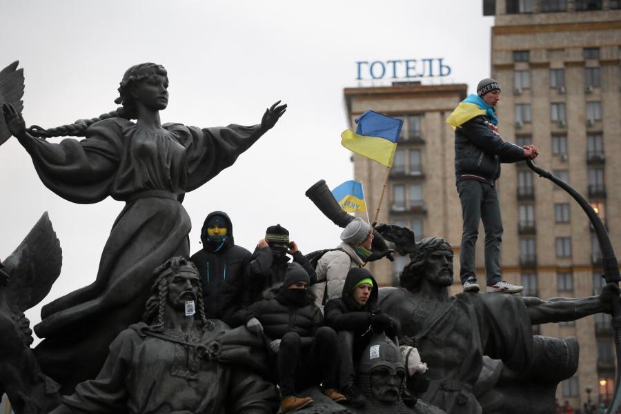 Kijow. Wielka demonstracja na Majdanie