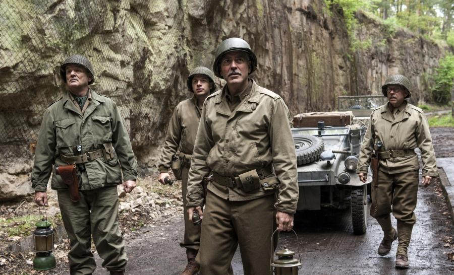 """The Monuments Men"" Bill Murray, Dimitri Leonidas, George Clooney, Bob Balaban"