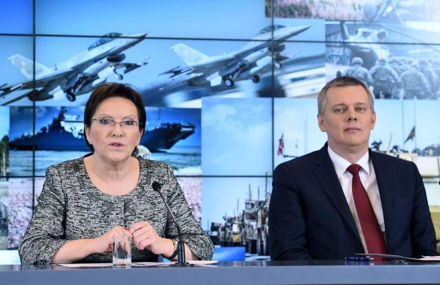 Ewa Kopacz i Tomasz Siemoniak podczas wspólnej konferencji prasowej