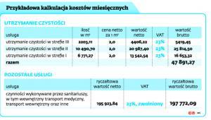 Przykładowa kalkulacja kosztów miesięcznych