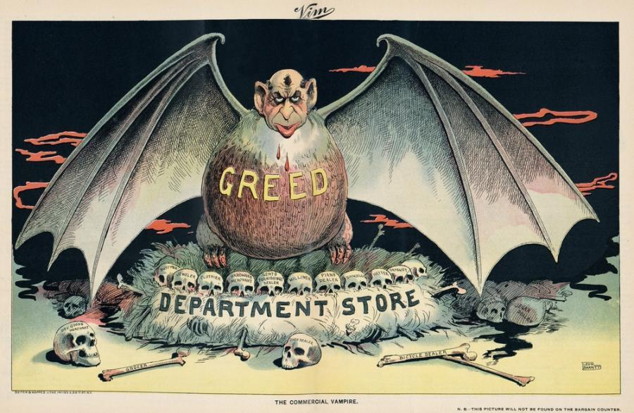Karykatura z 1898 roku atakująca wielkie domy handlowe, często należące do Żydów.