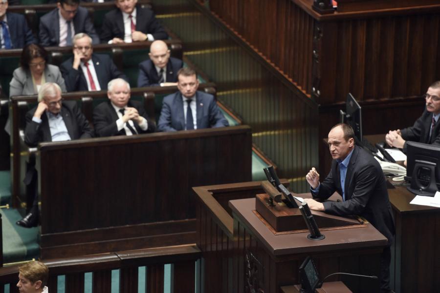 Paweł Kukiz podczas posiedzenia Sejmu
