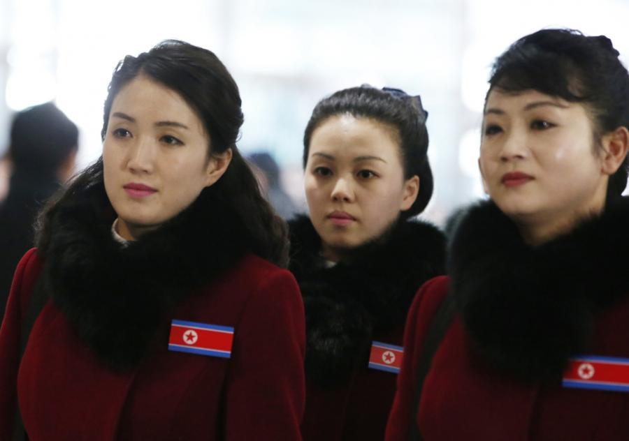 Członkinie północnokoreańskiej delegacji