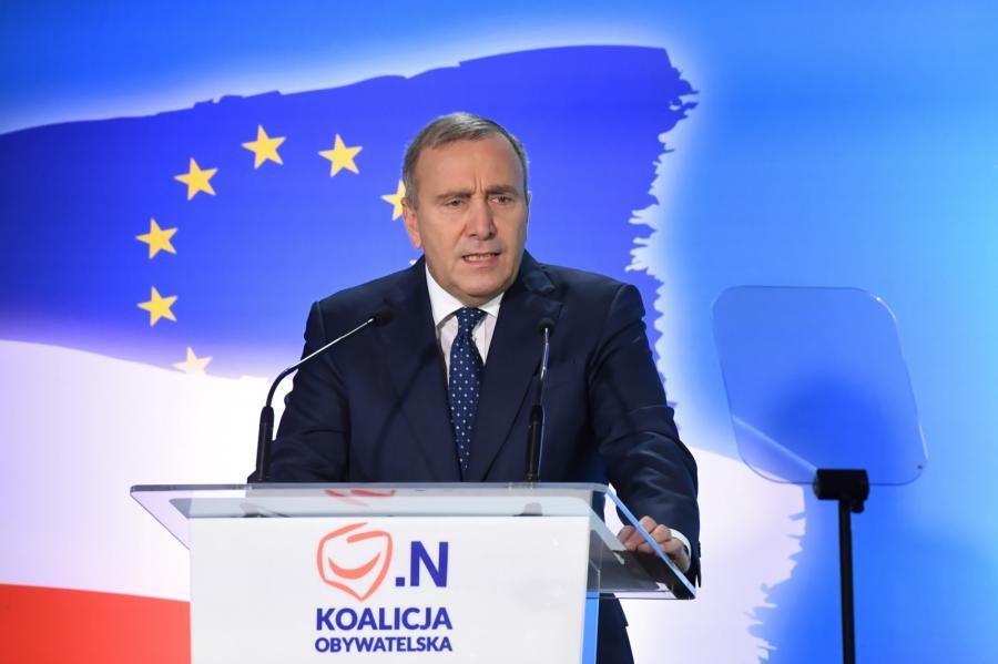 Przewodniczący Platformy Obywatelskiej Grzegorz Schetyna podczas ogólnopolskiej konwencji wyborczej Koalicji Obywatelskiej w Krakowie.