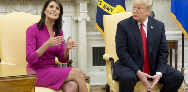 Ambasador USA przy ONZ Nikki Haley i prezydent USA Donald Trump.